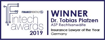 Logo - Fintech awards 2019 - Auszeichung als Versicherungsanwalt des Jahres