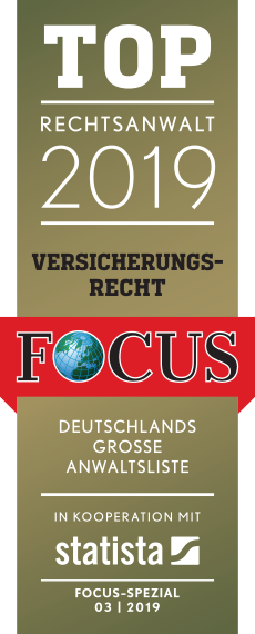 Logo Focus online Top Rechtsanwalt Versicherungsrecht 2019