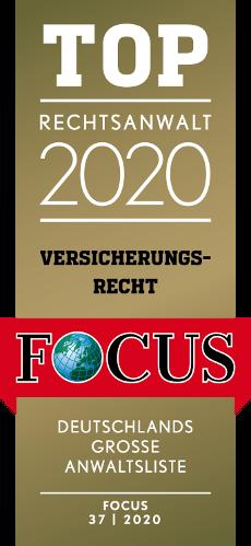 Focus Siegel Top Rechtsanwalt 2020 Versicherungsrecht